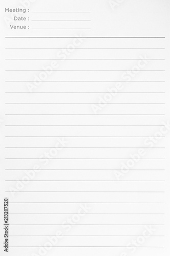 Notebook lined paper background or texture\ - line paper background