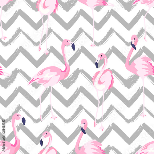 Abstract seamless pattern with exotic flamingo on chevron background
