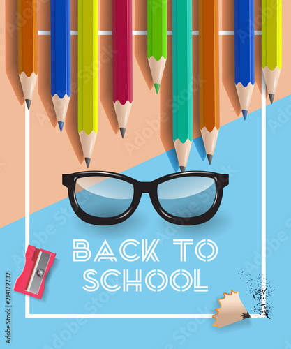 Back to school lettering in frame, glasses and pencils Offer or