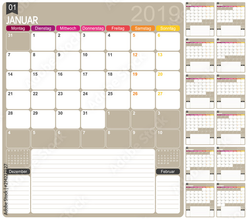 German calendar 2019 / German calendar template for year 2019, set