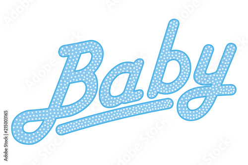 Cursive lettering of the word BABY, blue colored with bright and
