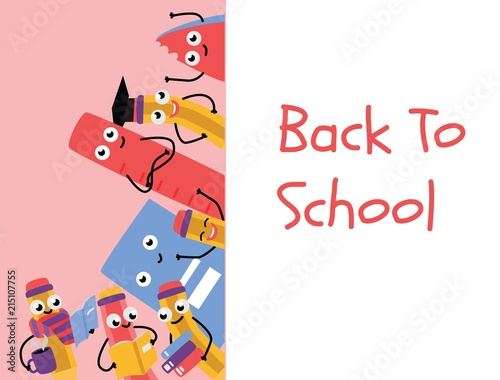 Back to school poster template with cute pencil characters and