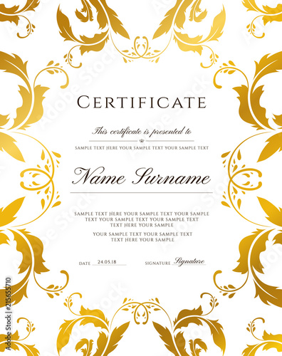 Certificate template, gold border Editable design for Diploma