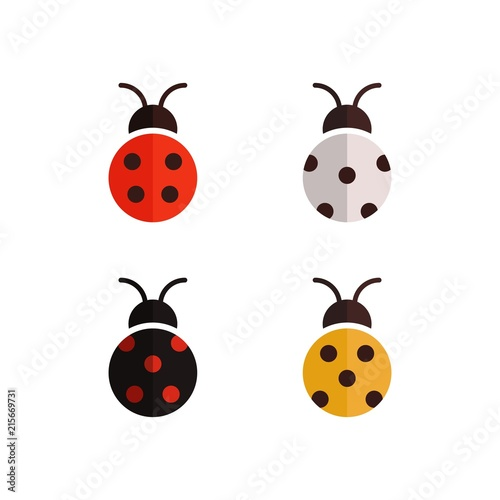 Flat vector set of ladybug Colored beetle design template\