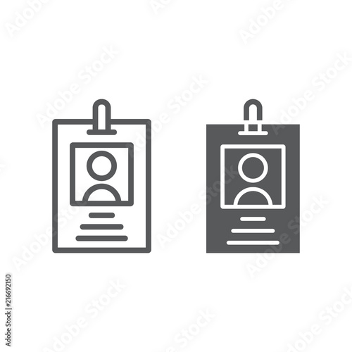 Office badge line and glyph icon, office and work, card sign, vector