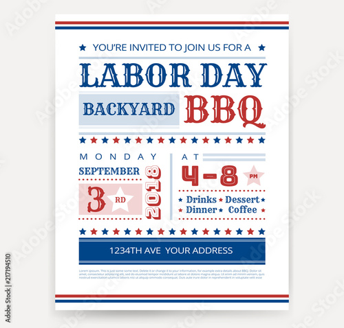 Labor Day BBQ invitation template - Labor Day USA grill party flyer