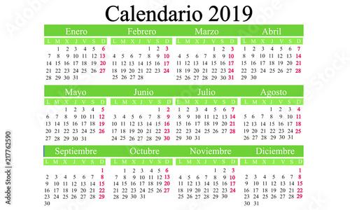 Spanish calendar 2019, calendar new year, calendar year 2019