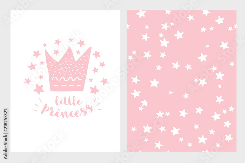 Little Princess Hand Drawn Baby Shower Vector Illustration Set