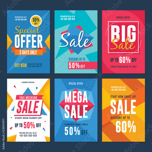Collection of sale and discount flyers Vector illustration for