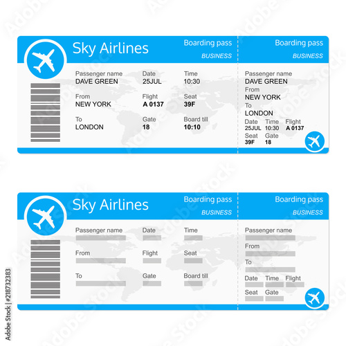 Plane ticket template Airplane flight ticket realistic blank
