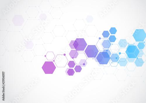 Molecular structure abstract tech background Medical design Vector