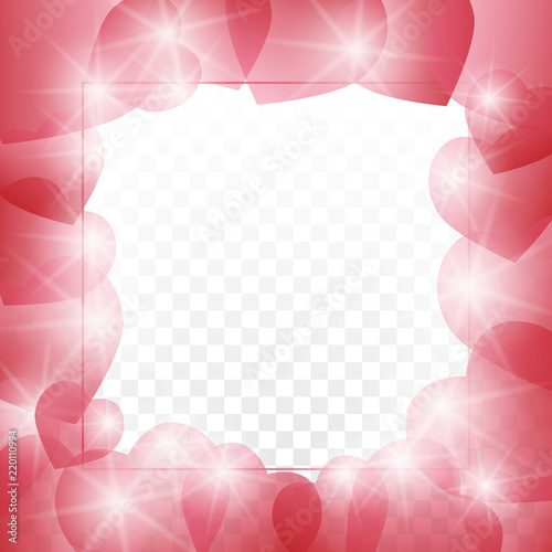 Love letter template lined with small red shaded hearts outline on