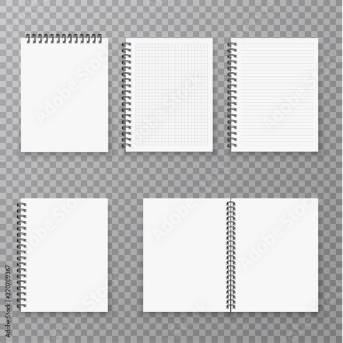 Blank open and closed realistic notebook collection, organizer and