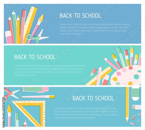 Collection of colorful horizontal web banner templates for Back To
