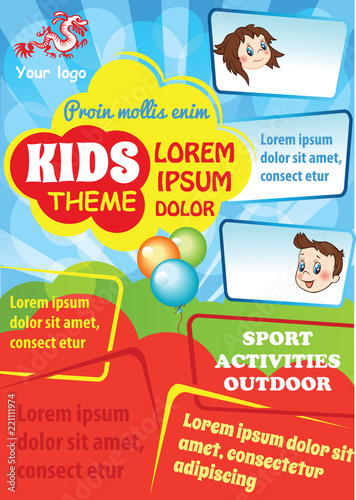 Kid advertising template with space for text Colorful vector flyer