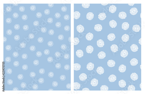 Cute Hand Drawn Floral Vector Patterns White Abstract Flowers Blue