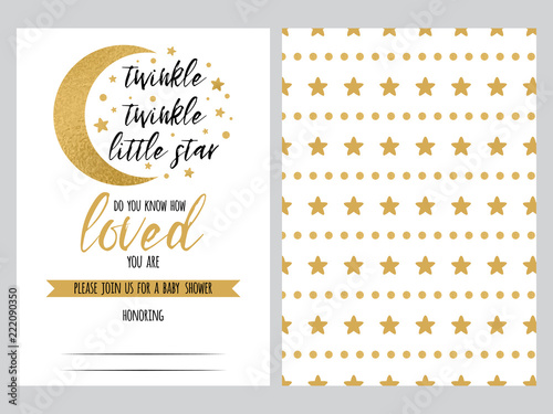 Baby shower invitation template, backgtround with gold golden stars