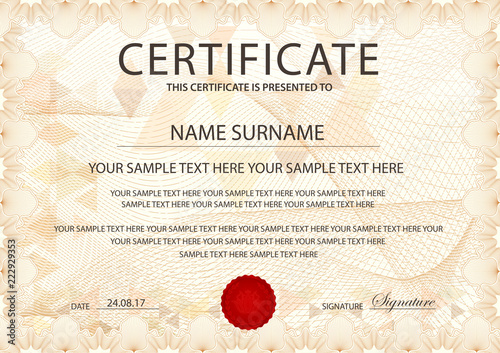Certificate template with Guilloche pattern, frame border Design