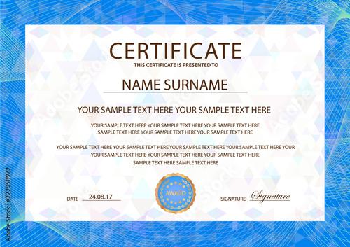 Certificate template, blue Guilloche frame border Design for