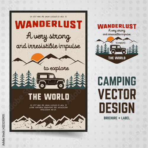 Wanderlust Logo Emblem and Brochure Template Vintage hand drawn