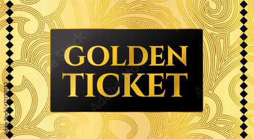 Golden ticket template, Concert ticket on gold background with curve
