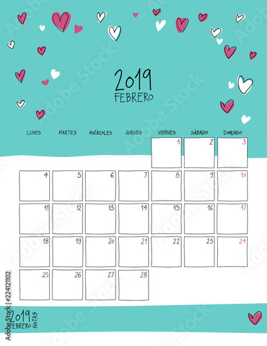 February 2019 wall calendar in Spanish Doodle style\