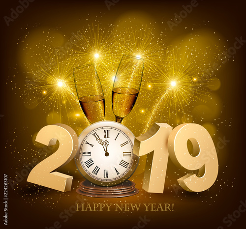 Happy New Year background with 2019, a clock and fireworks Vector