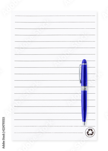 white note paper with pen isolated on white background blank paper