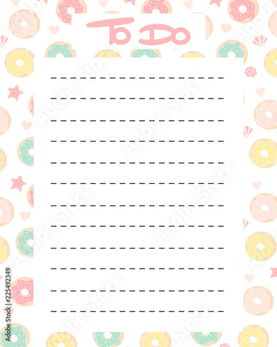 cute to do list vector printable with colorful donuts\