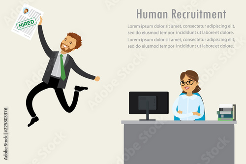 Successful job interview, job search concept, human resources