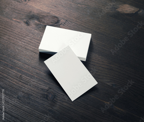 Photo of blank business cards Template for branding identity