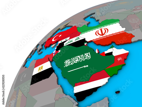 Middle East with national flags on 3D globe\