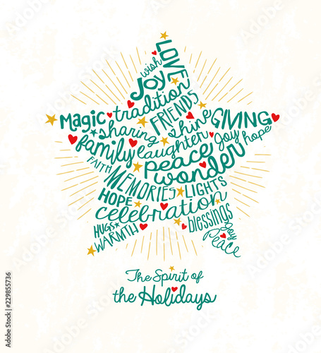 Holiday greeting card with inspiring handwritten words in star shape
