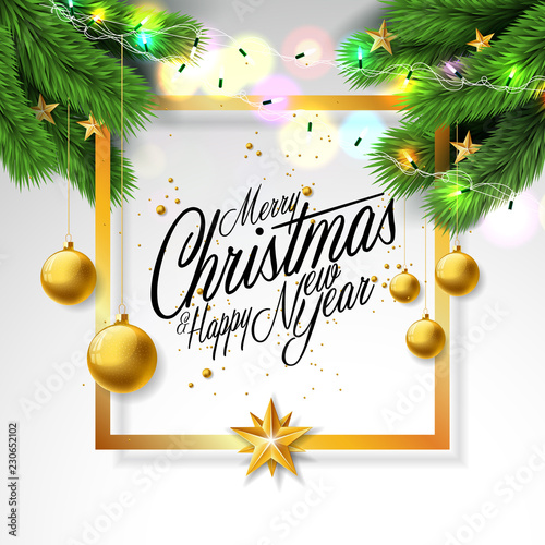 Merry Christmas Illustration on White Background with Ornamental