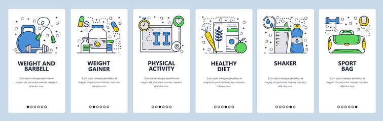 Vector web site linear art onboarding screens template Fitness and