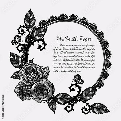Lace rose funeral card by hand drawingRose with butterfly vector