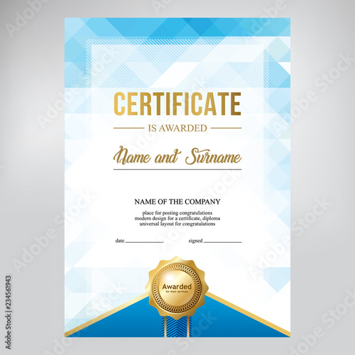 Certificate design, creative geometric blue background, template for