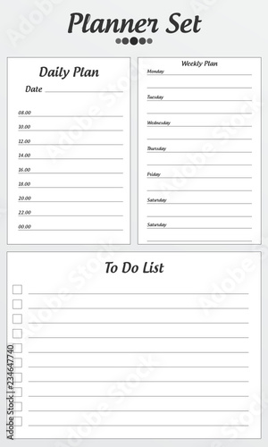 Planner 2019 set in flat style Schedule templates for school