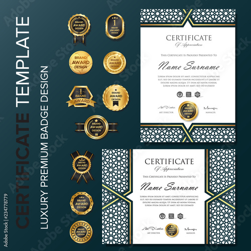 Certificate background template with badge\