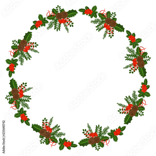 Round frame with Holly berry, pine branch and cones, snowflakes