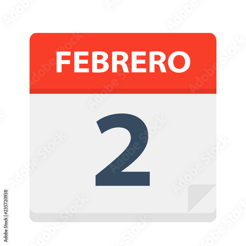 Febrero 2 - Calendar Icon - February 2 Vector illustration of