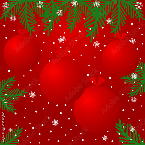 Christmas background with red balls, snowflakes and branches