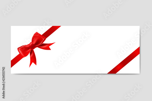 Gift Card Envelope Template with Ribbon and Bow\