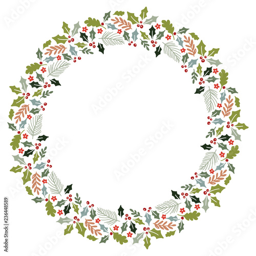 Christmas Wreath with Round Frame for Cards Design Vector Layout