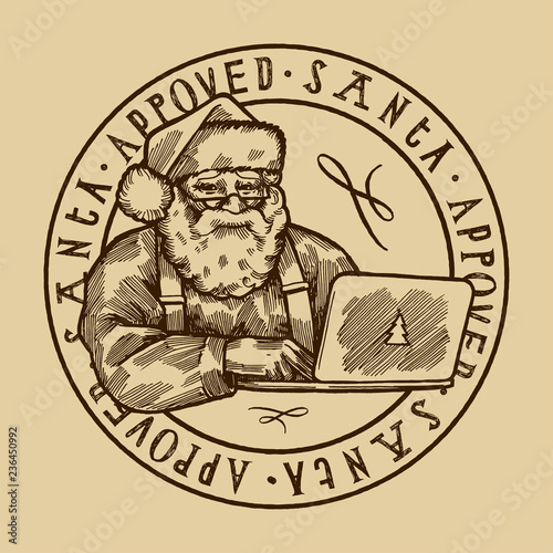 Santa approved stamp - vintage Santa Claus with computer vector