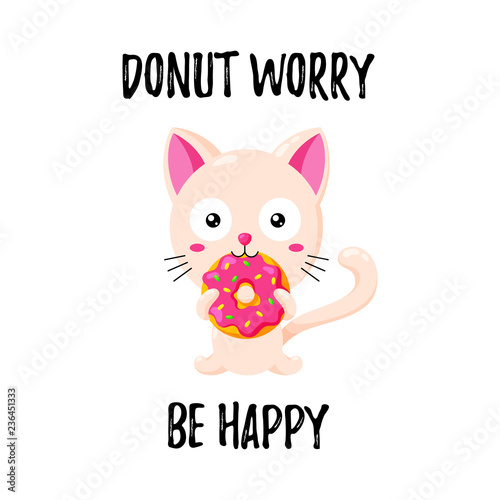 Cute vector illustration Funny cartoon cat eating a donut Template
