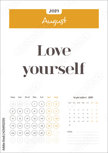 August, Calendar 2019 with Quotes and Notes Clean Calendar Template