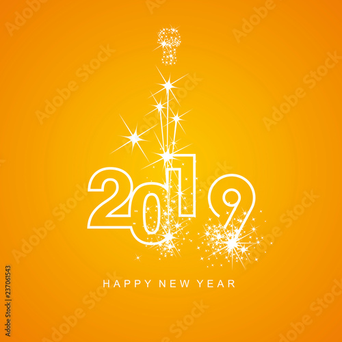 Happy New Year 2019 firework white line design numbers orange yellow
