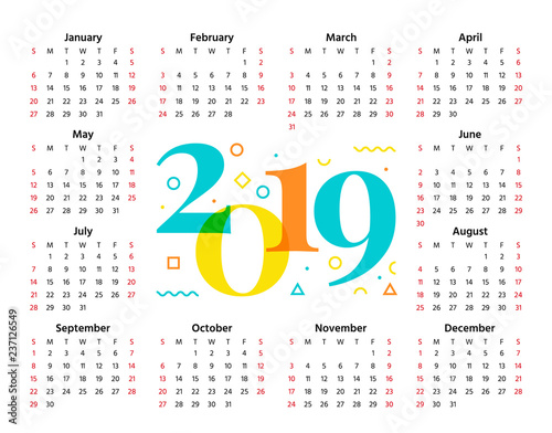 2019 Calendar Vector Week starts Sunday in minimal style