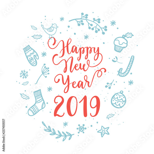 Happy New Year wishes for label emblem, logo, text, greeting card